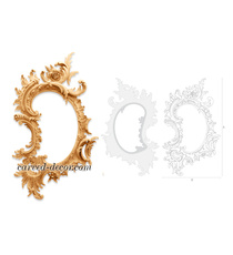 Rococo style curved mirror frame wi...