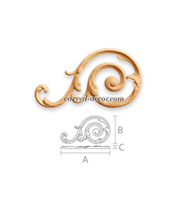 Spiral wooden onlay with acanthus l...