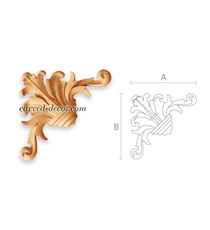 Carved acanthus corner onlay with s...
