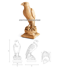 Hawk wooden newel cap, Bird decorative finial
