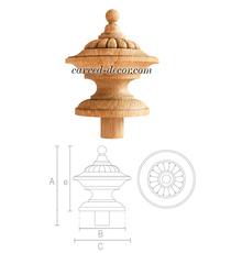 Vintage newel post cap, Wooden finial Urn
