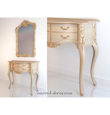 Large cabriole table legs with flor...