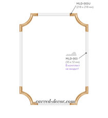 Stylish kit of angular overlays, Classic style wall appliques