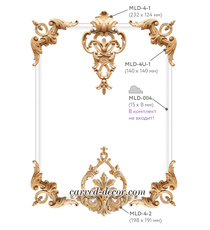 Wooden wall corner moldings kit with delicate onlays