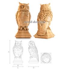 Solid wood Owl decorative newel pos...